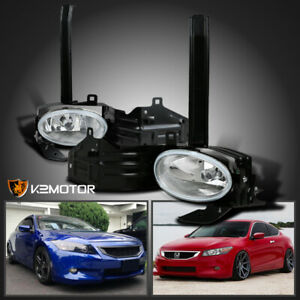 For 2008 2010 Honda Accord 2dr Coupe Clear Bumper Driving Fog Lights Lamp Switch