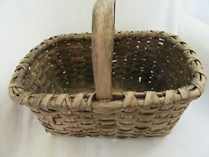 Antique Worn Paint Splint Basket Carved Primitive Patina Gathering Country