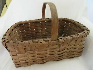 Antique New England Splint Basket Carved Primitive Patina Gathering Country