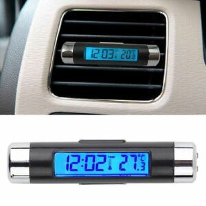 Car Lcd Clip On Digital Temperature Thermometer Clock Automotive Backlight Led