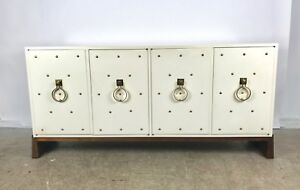Stunning Iconic Tommi Parzinger White Lacquer Brass Studded Cabinet Sideboard