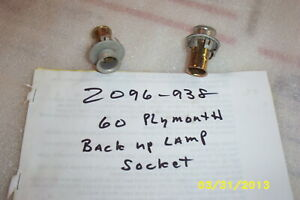 60 Plymouth Back Up Lamp Bulb Sockets 1 Pr Nos