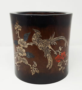 A Mother Of Pearl Inlaid Large Old Chinese Huanghuali Brush Pot