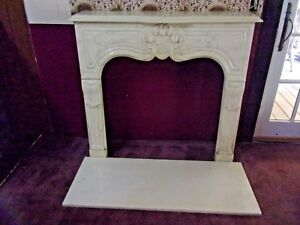 Cultured Travertine Marble Vintage Fireplace Mantel Surround Hearth