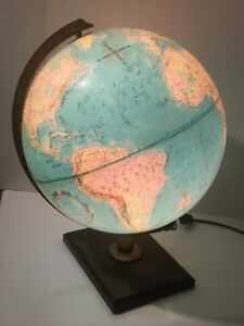 Vintage Antique Replogle 12 Inch Diameter Globe World Premier Series Lamp Light