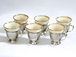 Set 6 Whiting Co Sterling Silver Lenox China Demitasse Tea Cups Gold Rim