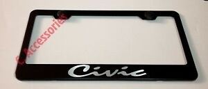 Civic Script Laser Style Black Stainless Steel License Plate Frame W Bolt Cap