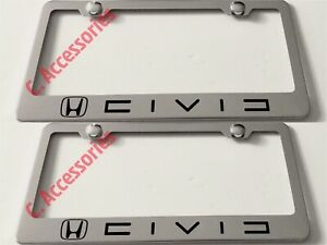 2x Civic Stainless Steel Chrome Finished License Plate Frame Rust Free W Boltcap