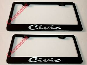 2x Civic Script Laser Style Black Stainless Steel License Plate Frame W Cap