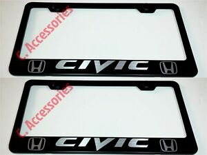 2x Civic Laser Style Black Stainless Steel License Plate Frame W Cap