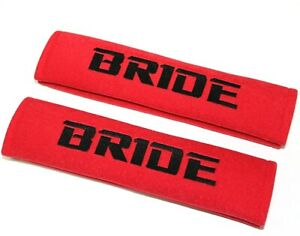 X2 Jdm Bride Racing Red Soft Cotton Embroidery Seat Belt Cover Shoulder Pads