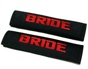 X2 Jdm Bride Racing Black Soft Cotton Embroidery Seat Belt Cover Shoulder Pads