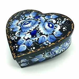 Heart shaped Jewelry Lacquer Box Bluewhite Valentines Earrings Necklace Case