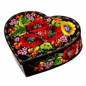 Heart shaped Jewelry Lacquer Box Red Best Valentines Gift Earrings Necklace Case