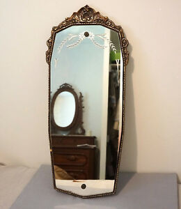 Antique Wall Mirror Etched Ornate Frame