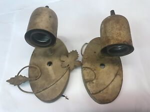 Pair Of Salvaged Light Fixtures Wall Sconce Mantle Lavatory