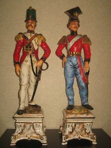 37 Tall Pair Of Porcelain Soldiers Made In Italy 19 Century Antique