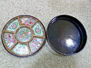Chinese Export Famille Rose Medallion Sweet Meat Set Laquered Box