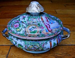 Antique Chinese Export Rose Medallion Porcelain Tureen
