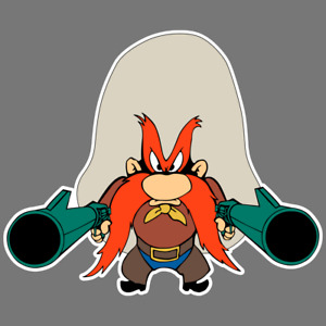 Yosemite Sam Gun Kids Cartoon Vinyl Sticker Car Truck Window Decal Laptop