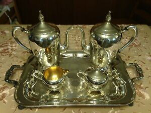 Wm Rogers 1883 Silver Plated 5 Pc Tea Service Set