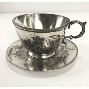 Barbour Bros Quadruple Silver Cup And Saucer Vintage Flower Scene