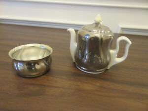 Vintage Small Tea Can With Sugar Bowl Silver Plated 70s