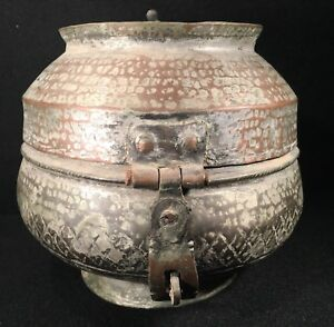 Old Tinned Copper Pot Container Metal Vessel W Lid Latch Middle Eastern 6 3 4