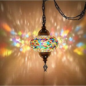8 Colors Turkish Moroccan Mosaic Swag Plug In Pendant Ceiling Hanging Light