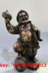China Feng Shui Pure Bronze Japanese Wealth Mammon God Mahakala Buddha Statue