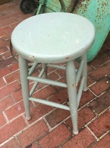Vintage Pale Green 24 Wood Stool W 13 Seat Very Good
