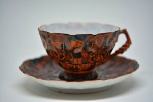 Antique Japanese Kutani Egg Shell Butterfly Pattern Tea Cup And Saucer 2