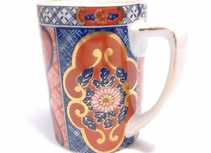 Hand Painted Tea Cup With Handle Glazed Floral Royal Blue Red Mint Condition