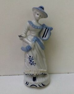 Antique Vintage Lg 8 Ceramic Porcelain Lace French Lady Figurine Statue