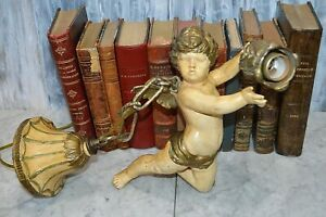 Antique Heavy French Italian Flying Winged Cherub Pendant Hanging Light Fixture