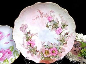 Limoges France Large Charger Painted Blossoms Floral Edges Embossed Platter