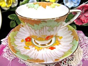 Royal Stafford Tea Cup And Saucer Hand Painted Blossom Pattern Teacup