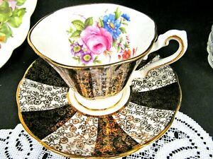 Rosina Tea Cup And Saucer Chintz Gold Black Floral Pink Rose Inside Teacup