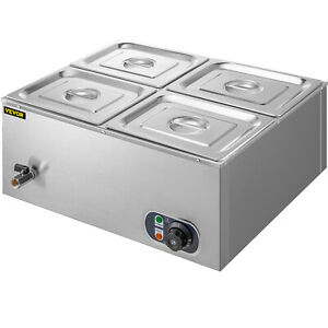 110v 4 pan Catering Food Warmer Steam Table Bain marie Buffet Restaurant 850 W