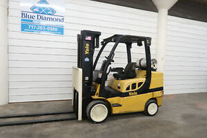 2007 Yale Glc080vx 8 000 Cushion Tire Forklift Three Stage Mast 4 Way Hyd