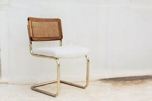 Vintage Cane Back Brass Chairs