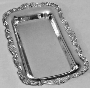 Antique Poole Silver Co 414 Silver Plated Mirror Finish Ornate Bread Tray
