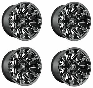 Set 4 22 Fuel Battle Axe D578 Black Milled Rims 22x12 8x6 5 44mm Lifted Truck