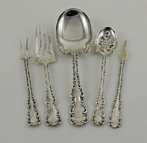 Whiting Louis Xv Sterling Silver 5 Piece Serving Set W Monogram