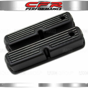 1962 85 Ford Sb 289 302 351w 5 0 Tall Valve Covers Polished Finned Black Aluminu