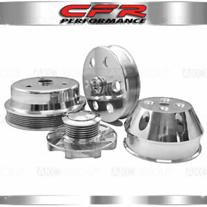 Chevy Sb Small Block Billet Long Water Pump Serpentine Pulley Set Machined