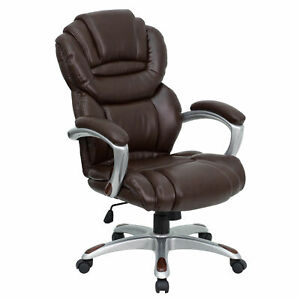 High Back Leather Executive Swivel Office Chair With Padded Loop Arms Brown