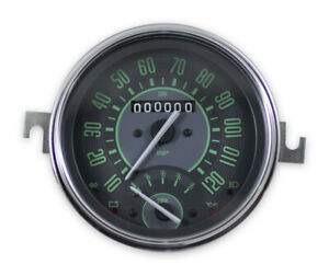 Vw Bug Bus Ghia Isp 120 Mph Speedometer W Combo Gas Fuel Gauge Green Numericals