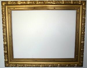 Vintage Rustic Gold Wood Carved Picture Frame 27 X 21 1960 1970