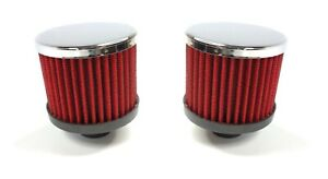 Pair Chrome Valve Cover Push In Breathers Red Filter Open For 1 1 4 Hole